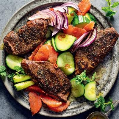 Ostrich steaks with grapefruit-and-cucumber salad