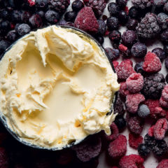 Sweet cream with frozen berries