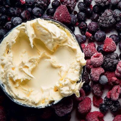 Sweet cream with frozen berries