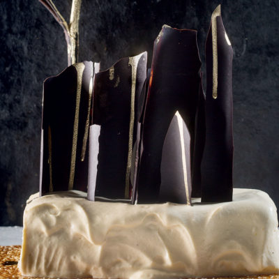 Tahini semifreddo with golden chocolate shards and sesame brittle recipe