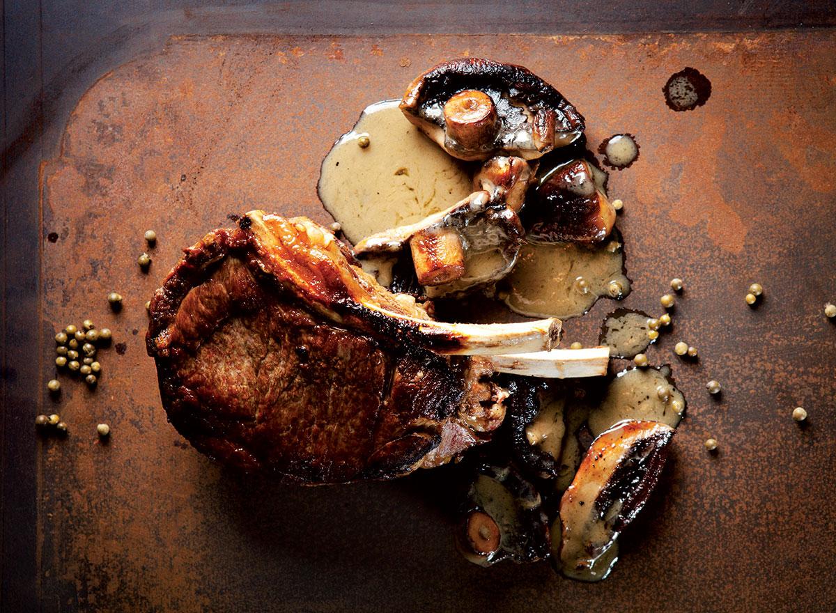 Thick-cut rib-eye with mushroom recipe