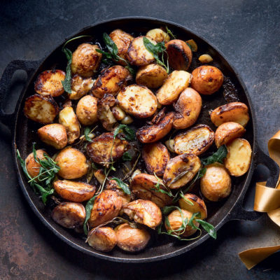 Crispy balsamic sage potatoes