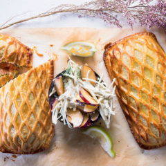 Salmon Wellington with a plum-and-celeriac remoulade