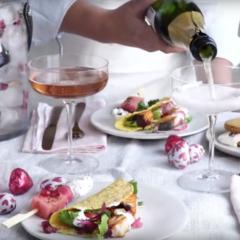 A decadent rosé-themed Valentine's feast