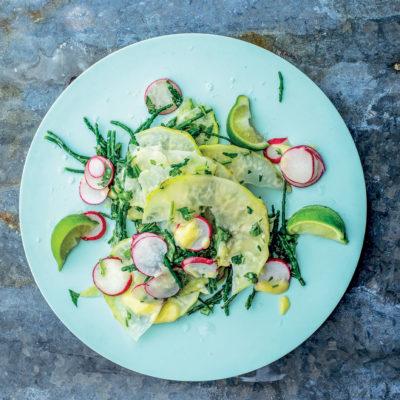 Celeriac, radish and samphire salad