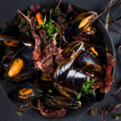 Cider mussels with duck bacon