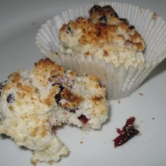 Coconut Cranberry Scones - Gluten free, sugar free, dairy free