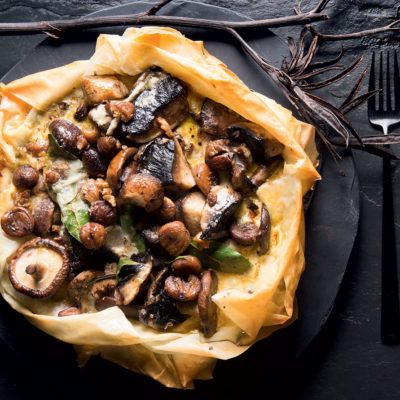 Mushroom-and-chestnut phyllo pie