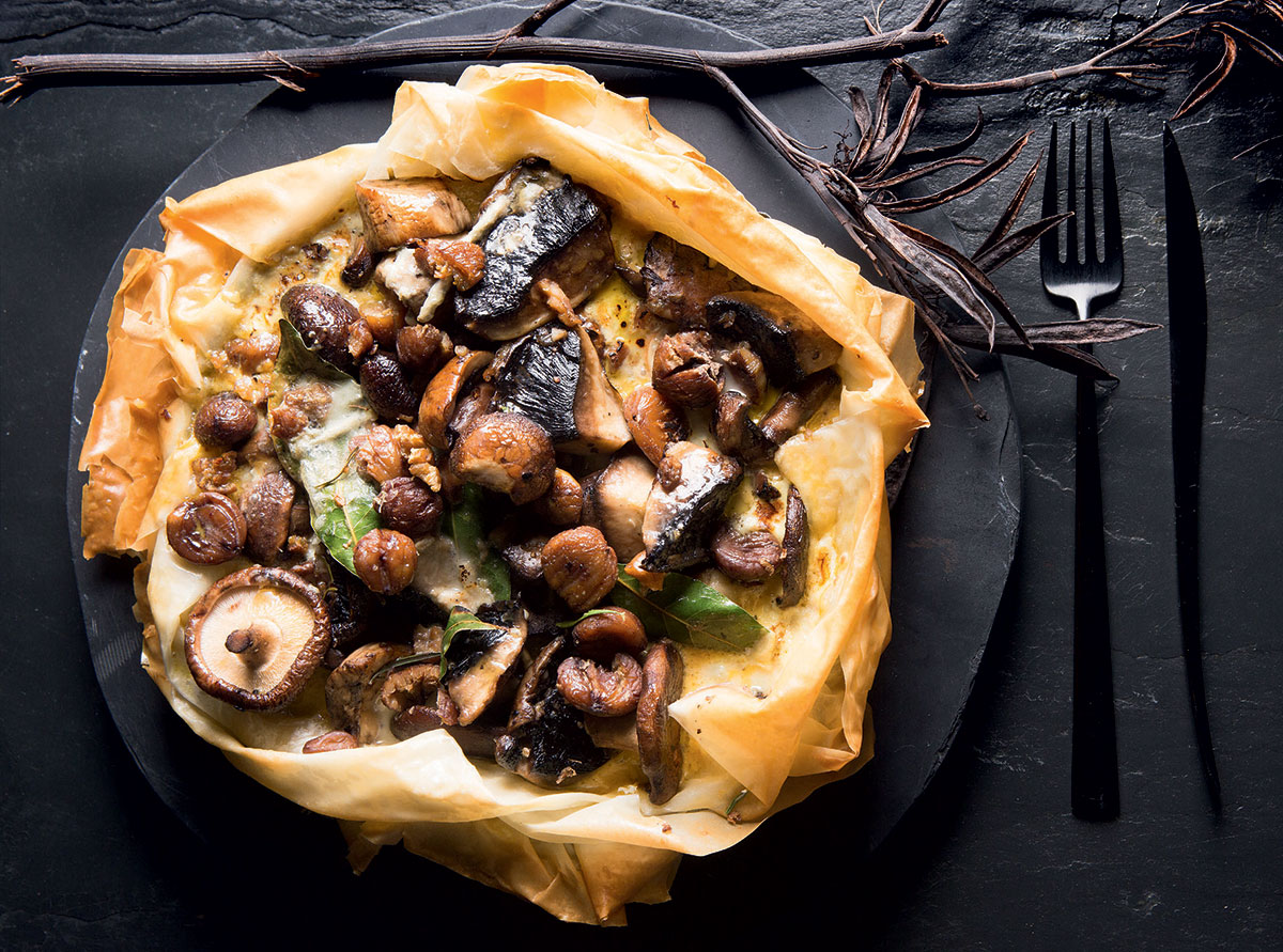 Mushroom-and-chestnut phyllo pie recipe