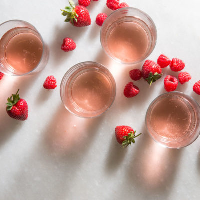 rosé and strawberries