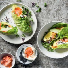 Lettuce wraps with smoked trout and avocado