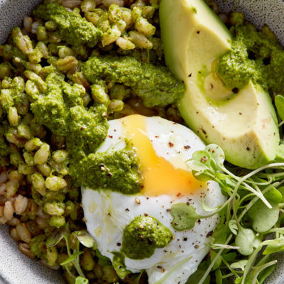Kale-and-herb barley bowl with poached egg