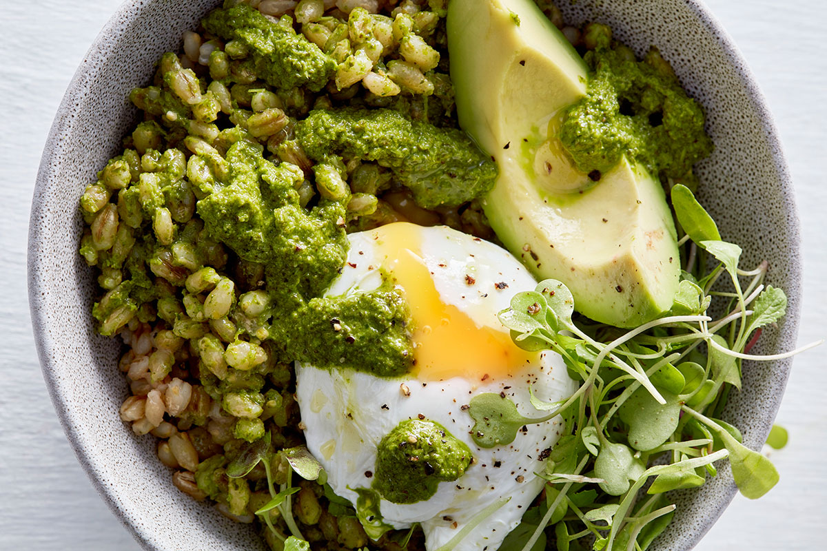 Kale-and-barley bowl with poached egg recipe