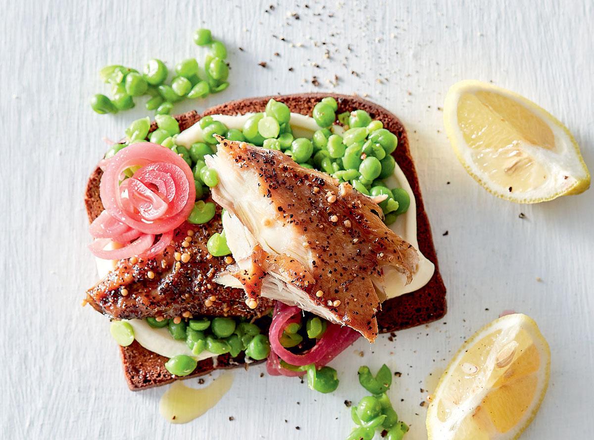 Peppered mackerel and smashed peas on rye toast recipe