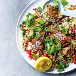 Pomegranate molasses chicken with bulgur wheat salad recipe