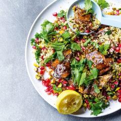 Pomegranate molasses chicken with bulgur wheat salad