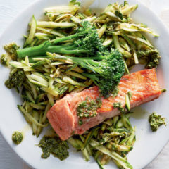 Raw baby marrow salad with basil pesto and trout