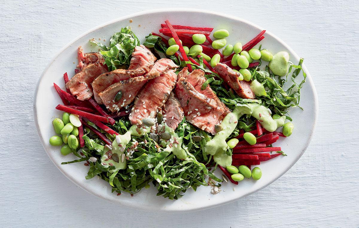 Seared summer free-range beef with vibrant veggies recipe