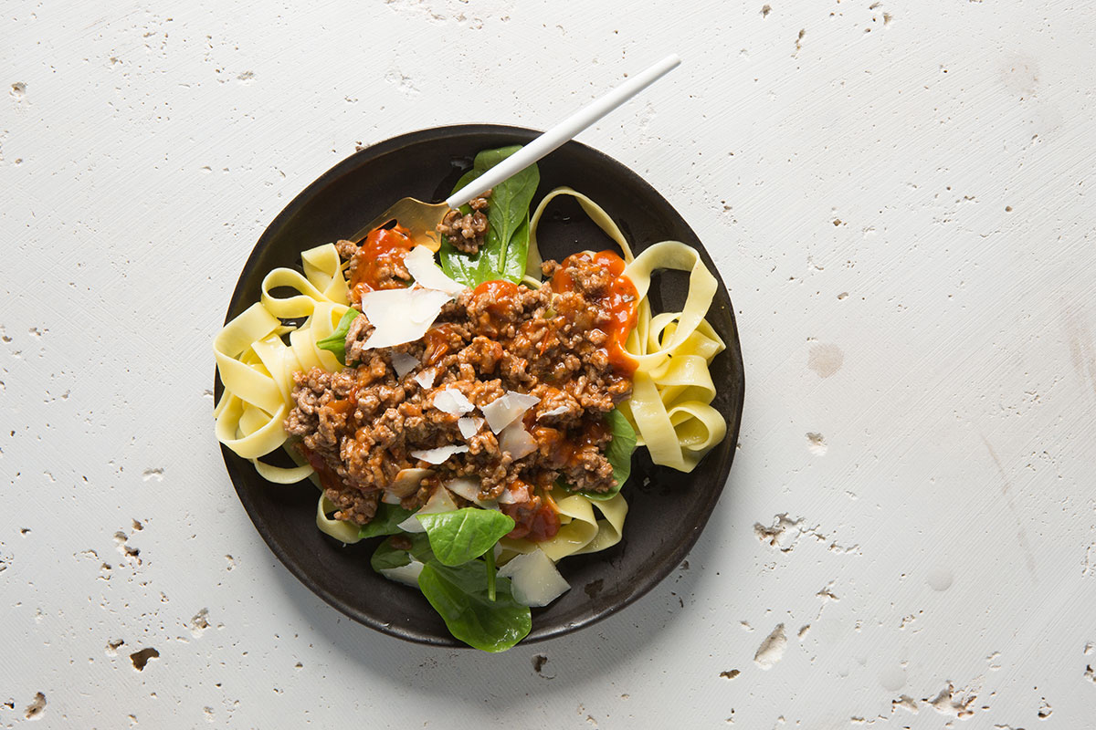 Beef mince tagliatelle bolognese