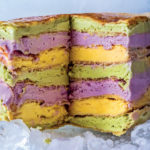 Multi-coloured frozen pancake stack recipe