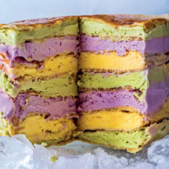 Multi-coloured frozen pancake stack