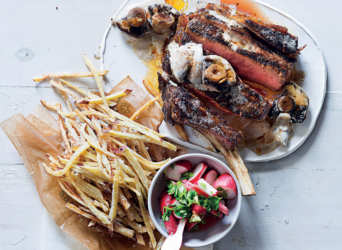 Coffee-rubbed rib eye with shoestring sweet potato fries, mushroom sauce and radish salad recipe