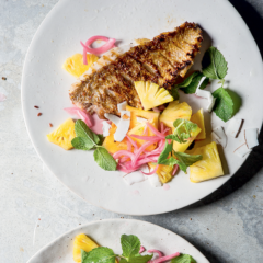 BBQ fish with pineapple slaw