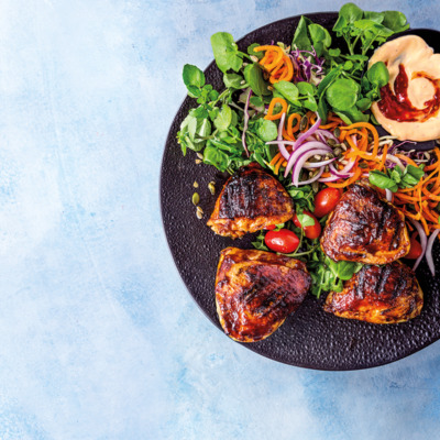 Grilled spice-rubbed chicken thighs with crunchy salad