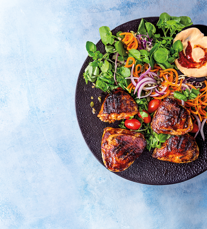 Grilled spice-rubbed chicken thighs with crunchy salad ...