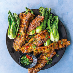 Grilled pork rashers and pak choi with soya, chilli and spring onion