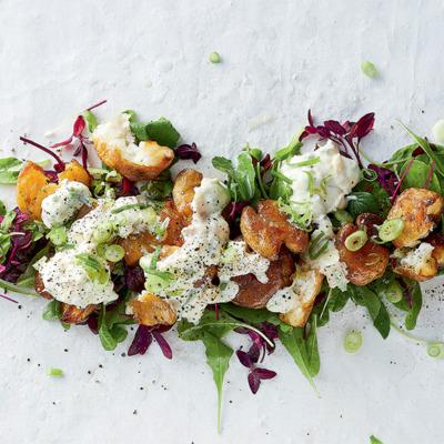Smashed roast potato salad