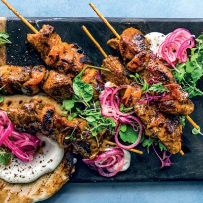 Grilled lamb kebab pitas