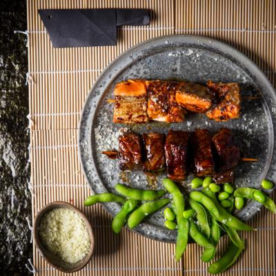 <em>Yakitori</em> (grilled meat skewers)