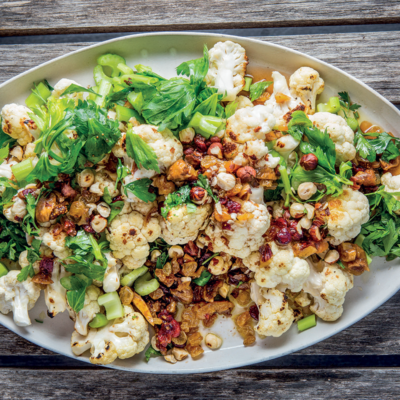 Chargrilled cauliflower with hazelnuts and celery