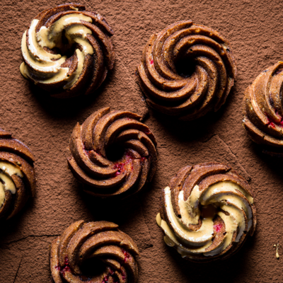 Chocolate-and-raspberry banana cakes