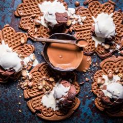 Chocolate malted waffles