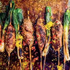 Lamb koftas with grilled leeks