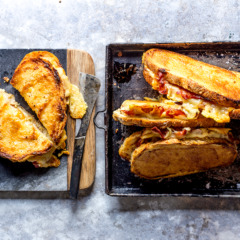 Oven-toasted ham and cheese sandwiches