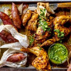 Peruvian-style roast chicken with green sauce