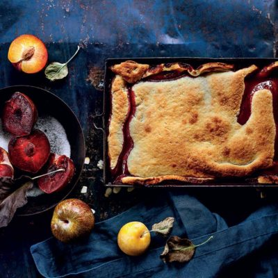 Plum-and-almond tarte tatin