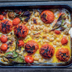 Tomato and anchovies roasted in garlicky cream