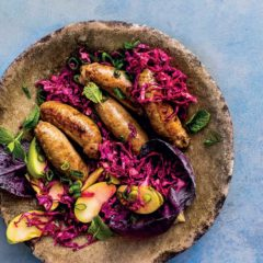 Beef sausages with purple cabbage-and-apple slaw