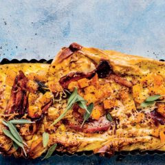 Cheesy butternut-and-bacon tart