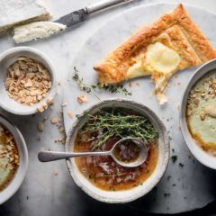 Cauliflower, leek and almond brown-butter soup with potato puffs