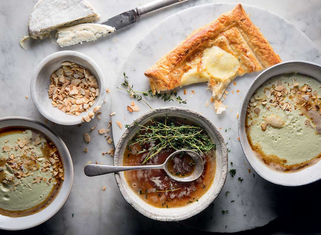 cauliflower leek and almond brown butter soup with potato puffs