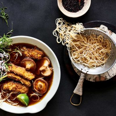 Crumbed beef noodle bowl