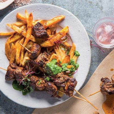 Paprika lamb kebabs with twice-cooked chips