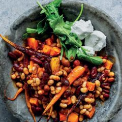 Roast three-bean salad