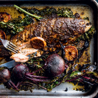 Blackened trout with charred beetroot and citrus