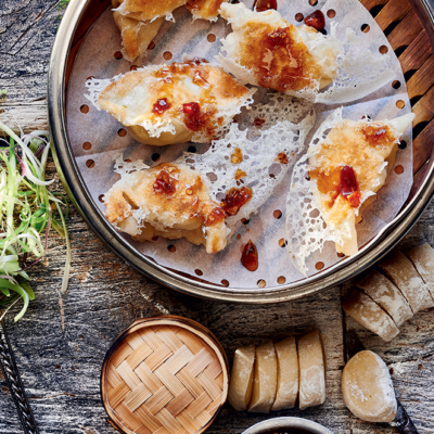 Lattice chicken <em>gyoza</em> (dumplings) with chilli jam